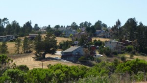 Houses on a hill in Cambria.