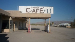 An old, closed gas station and cafe in Desert Center.