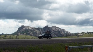 Clouds, Mountain, Car