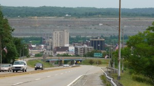Downtown Steubenville. You can see the bridge I took in the background.